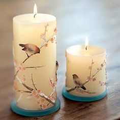 Photo of Pretty Birds for fans of Candles. Homemade Candles, Diy Candles, Scented Candles, Pillar Candles, Making Candles, Floating Candles, Candle Art, Candle Lanterns, Decoupage