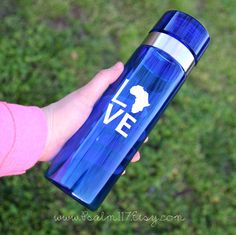 LOVE Africa  Water Bottle  Congo Adoption Fundraiser  by Psalm117, $15.00