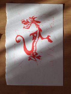 My Mushu lino print from print class! From Disney's Mulan