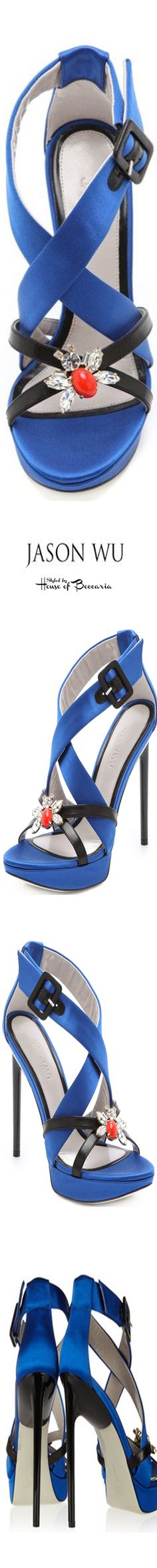 ~Jason Wu Marisa Embellished Satin and Leather Platform Sandal | House of Beccaria#