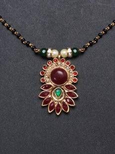 Buy Red and Green Black Beaded Pearl Mangalsutra online.