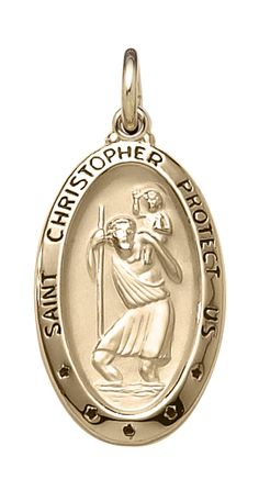 14k yellow gold large oval hollow St. Christopher, 20 inch chain included.