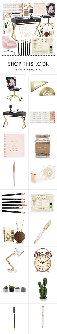 """""""Home Office"""" by beanpod ❤ liked on Polyvore featuring interior, interiors, interior design, home, home decor, interior decorating, PBteen, Kate Spade, Forever 21 and Swarovski"""