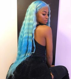 Preferred Hair Water Blue Brazilian Remy Human Hair Wig Straight Wigs with Baby Hair Wigs for Women My Hairstyle, Wig Hairstyles, Long Weave Hairstyles, Bride Hairstyles, Colored Wigs, Coloured Hair, Hair Laid, Cool Hair Color, Hair Colour