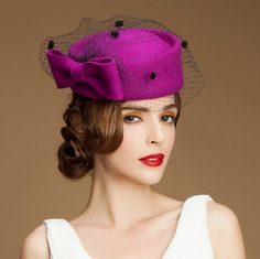 7b2a739d6f28c Elegance bow pillbox hat with veil for women