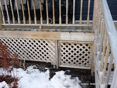 Install lattice around the deck - Door to access under the deck - Build a Porch, Deck Stairs, Deck Railings, Lattice Deck, Porch Trim, Rustic Deck, Deck Framing, Deck Skirting, Raised Deck, How To Build Steps