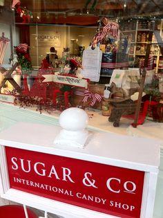 Christmas window at Sugar & Co. Sweet Shop.
