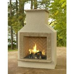 San Juan outdoor gas fireplace with gas log set. Need one of these at my next house!
