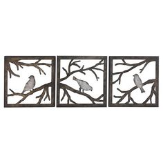 Birds on Branch 3 Piece 11x11