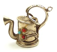 Vintage Etruscan Style Silver Watering Can Charm