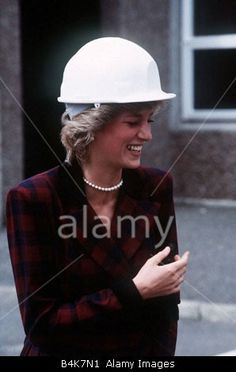 July 2, 1985:  Princess Diana wearing a hard hat and laughing during her visit at Lewis Offshore Ltd Arnish Point Western Isles