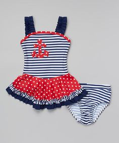 Love this Navy & Red Nautical Tankini - Infant, Toddler & Girls on #zulily! #zulilyfinds