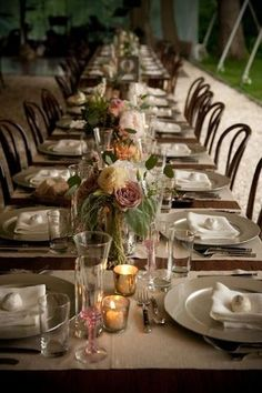 inspired by: long table, use of mercury glass, varying vessels to bring interest to tablescape.