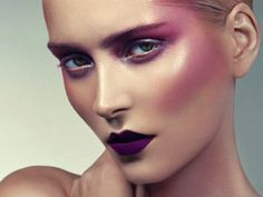 Matte purple lip with exaggerated blush and shimmery highlight | purple editorial makeup look by Heiko Palach, photographed by Anja Frers.
