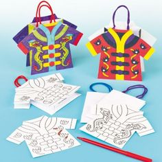 Chinese Colour-in Mini Gift Bags