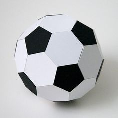 Here is a 3D soccer ball by request. :) You need to cut the black file twice for 12 pentagons and the white file four times for 20 hexagons total. Assemble the pieces using a strong adhesive. S...