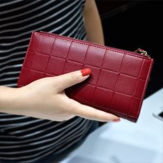 $ - Cool AOEO Womens Wallets and Purses Ladies Long 2 Zipper Coin Pocket 5.5 Phone Lady 10 Card Holder pu Leather Red Girls Wallet Female - Buy it Now!