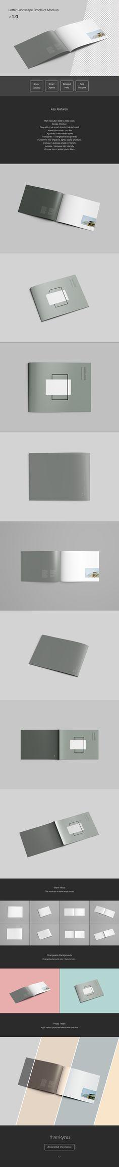 Letter Landscape Brochure Mockup on Behance