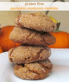 Gluten free pumpkin molasses cookies. Soft and chewy and delicious! Vegan option, too!