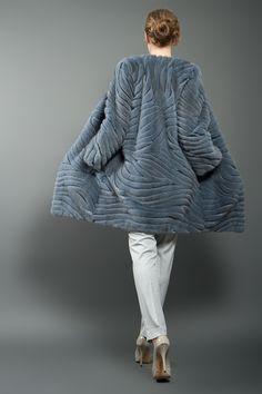 Grey Blue Mink Fur Coat