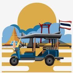 Tuk Tuk Vector Illustration Vector and PNG Thailand Tourism, Thailand Art, Thailand Travel, Bangkok Thailand, Pattaya Bangkok, Phuket Travel, Bangkok Travel, Travel City, Retro Background