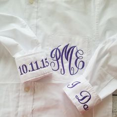 Monogrammed Button Down Oxford Bridal Shirt For Wedding Day by HeatherStrickland $35