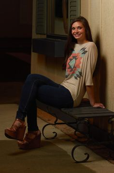 Beige Dolman Sleeve Aztec Print Top shop-swank.com A Women's Boutique