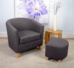 Roma Oak Linen Effect Charcoal Tub Chair Stool Set