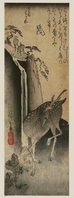 Deer and Waterfall 滝に鹿 Japanese Edo period Artist Utagawa Hiroshige I (Japanese, Publisher Fujiokaya Hikotarô (Shôgendô) (Japanese) Japanese Prints, Japanese Art, Art Japonais, Japanese Painting, Museum Of Fine Arts, Woodblock Print, Chinese Art, Painting Prints, Paintings