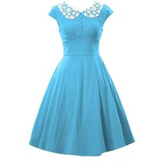 EkarLam Women's Vintage 50s 60s Audrey Hepburn Picnic Lolita Dress ❤ liked on Polyvore featuring dresses, blue dress, vintage day dress, blue color dress, blue vintage dress and vintage dresses