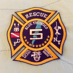 FDNY RESCUE 5 PATCH (BLUE THUNDER)..... by themajestirium1