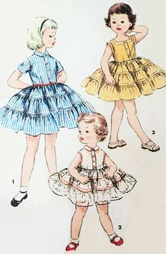Little Girls Tiered Skirt Dress Pattern Simplicity 1071 Vintage Sewing Pattern Size 5 FACTORY FOLDED-Authentic vintage sewing patterns: This is a fabulous original dress making pattern, not a copy. Because the sewing patterns are vintage and pr