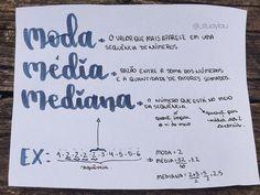 """@_studylau on Instagram: """"Para nunca mais confundir média, moda e mediana!!!! 📚 caneta para os títulos: CIS dual brush azul.  #matematica #lettering #resumos"""""""