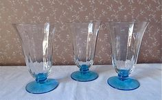 Three Tiffin Ice Tea Tumblers Clear with by CarolynsCollections $30 plus $12 shipping