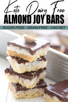 These keto almond joy bars are a coconut lover's dream, with a gooey coconut filling and a tender shortbread crust. They are completely dairy and sugar-free, too! Bon Dessert, Fall Dessert Recipes, Fall Desserts, Low Carb Desserts, Low Carb Recipes, Apple Recipes, Dessert Ideas, Whole 30, Keto Bars