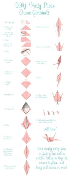Paper Crane DIY Garlands -  folding 1,000 Origami Cranes is truly a labor of love. Tradition holds that the bride who finishes this task, called 'sembazuru', before her wedding day will be richly rewa