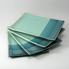 Ceramic Plates-Pearl Green Glaze-Peacock Gloss by cherylwolff