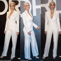 Rita Ora in dangerously low-cut white suit at star-studded Tom Ford show Star Fashion, Fashion Show, Fashion Design, Rita Ora Images, White Suits, Oras, All About Fashion, Tom Ford, Catwalk