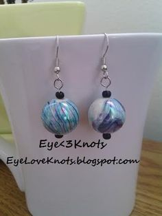 Lightweight Large Round Blue Swirl Dangle Earring. Perfect for Sensitive Ears - Hypoallergenic! Sterling Silver AVAILABLE!