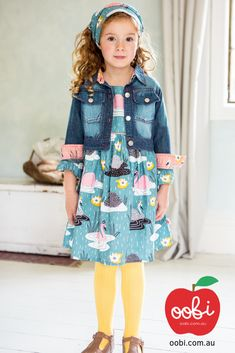 Sage Dress Teal Swan | Party Outfit for Girls | Oobi Girls Kid Fashion