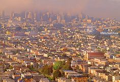 San Francisco Skyline In The Fog From  Bernal Heights Park, San Francisco By Mitchell Funk  www.mitchellfunk.com