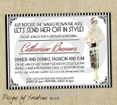 Vintage Fashion Themed  Art Deco Style  Bridal Shower by Xreations, $15.00