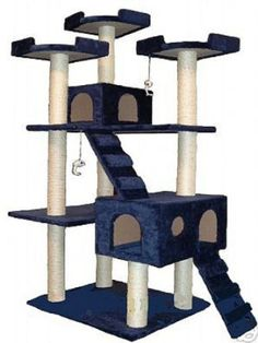 What a wonderland of feline adventure! With seven different perching areas and two kitty houses, this Go Pet Club cat tree allows your cat to be the king of his own castle. Fun kitty toys hang from two levels, and stairs accommodate older cats to reach higher spots. Faux fur, sisal rope, and wood construction are easy to assemble with included instructions and tools, and soon your cats will be [...]