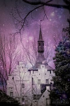 Surreal Castle Photography, Fantasy Art, Nature, Magical Skies, Purple Stars, Fairytale Photo, Castle Tower, Trees - An Ode to Rivendell