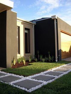 patio design moderne vorgartengestaltung rasenflche pflanzen betonplatten kies - Vorgartengestaltung Modern