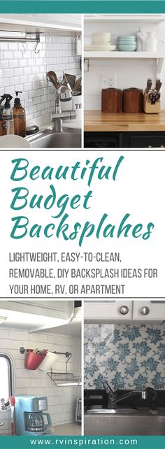 10 Beautiful And Cheap Diy Rv Backsplash Ideas Lightweight Easy To Install Removable Backsplash Ideas For A Camper Motorhome Travel Trailer Rental Home Or Apartment Kitchen Removable Backsplash, Backsplash Cheap, Kitchen Backsplash, Diy Kitchen, Kitchen Ideas, Kitchen Island, Kitchen Magic, Cheap Kitchen, Kitchen Countertops