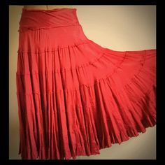 Full Circle Midi Tiered Skirt Fun Rayon BoHo skirt lots of movement and sexy. Great red color. Vintage Skirts Midi