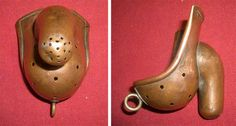 This is a 19th century anti-masturbation device. Looks comfy.  The rare 19th century item is made of copper and was designed to be worn by boys so they could not commit the 'sin'. Attached to a belt it would have encased the genitalia. The bizarre antique dates back to around 1880 and was used in Catholic France.