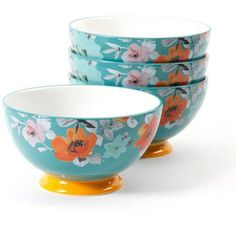 Add a cheery accent to your table with The Pioneer Woman Flea Market Turquoise and Yellow 6 in. Footed Bowls - Set of 4 . These ceramic bowls feature. Pioneer Woman Dishes, Pioneer Woman Kitchen, Pioneer Woman Recipes, Pioneer Women, Pioneer Woman Dinnerware, Teal Art, Turquoise Kitchen, Beautiful Soup, Home Decor Kitchen