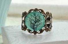 SPRING SALE Aqua Tree Filigree Statement Ring. by WearitoutJewelz